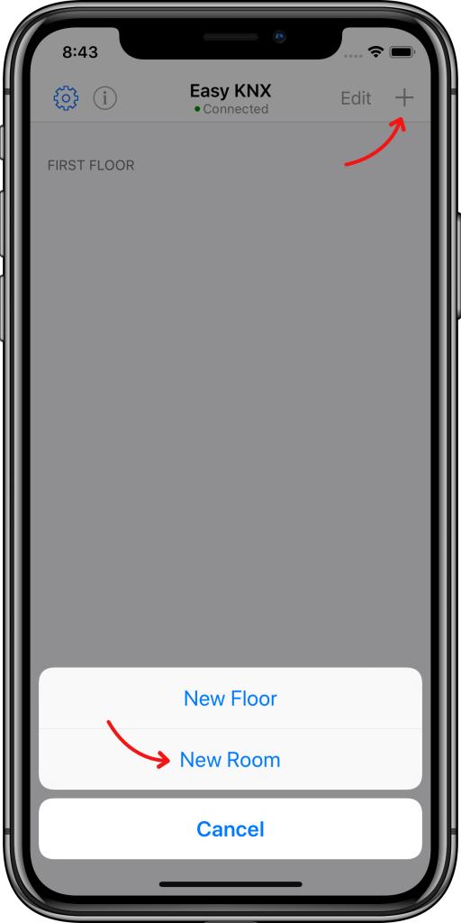 Crear habitaciones Easy KNX iOS