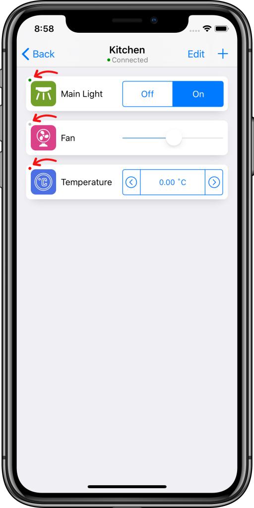 Información sobre controles Easy KNX iOS