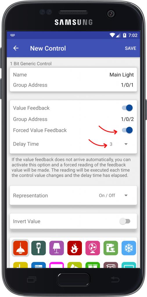 Parámetros adicionales controles Easy KNX Android