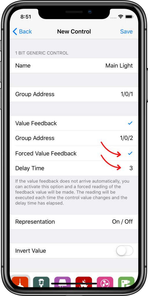 Parámetros adicionales controles Easy KNX iOS