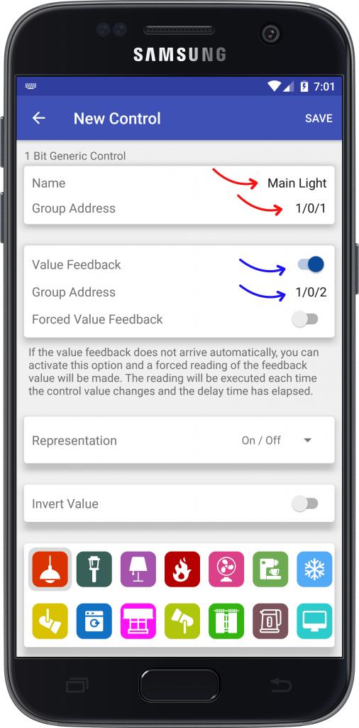Parámetros básicos controles Easy KNX Android