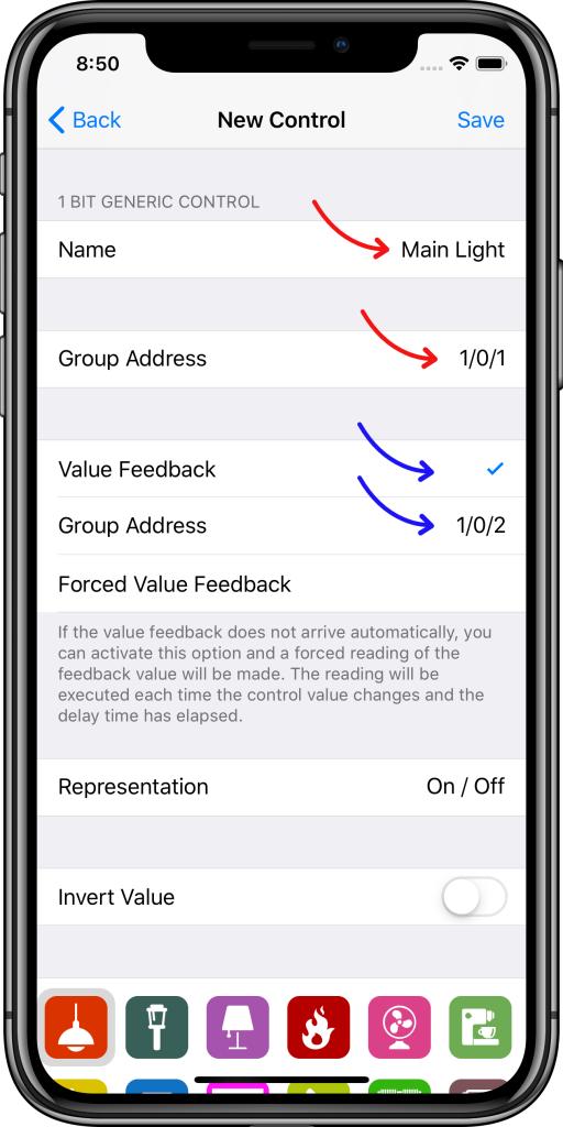 Parámetros básicos controles Easy KNX iOS