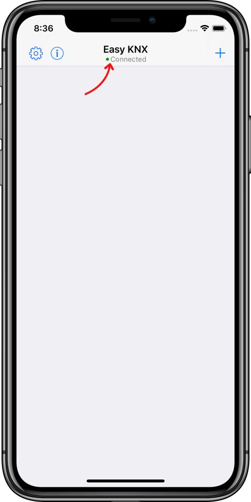 Primera pantalla Easy KNX iOS